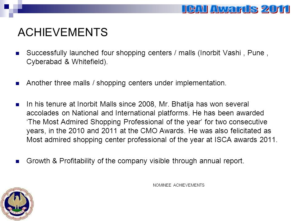 ACHIEVEMENTS NOMINEE ACHIEVEMENTS Successfully launched four shopping centers / malls (Inorbit Vashi, Pune, Cyberabad & Whitefield).