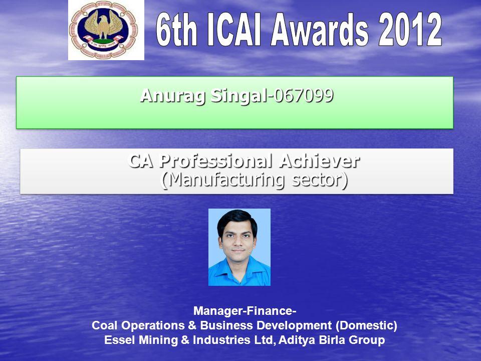 Anurag Singal-067099 Anurag Singal-067099 CA Professional Achiever (Manufacturing sector) CA Professional Achiever (Manufacturing sector) Manager-Fina