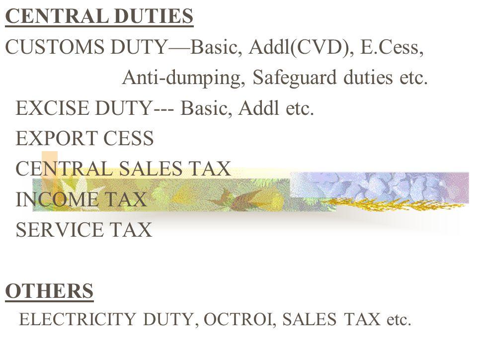 CENTRAL DUTIES CUSTOMS DUTYBasic, Addl(CVD), E.Cess, Anti-dumping, Safeguard duties etc.
