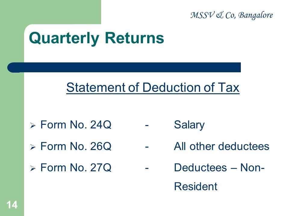 MSSV & Co, Bangalore 14 Quarterly Returns Statement of Deduction of Tax Form No. 24Q-Salary Form No. 26Q-All other deductees Form No. 27Q-Deductees –
