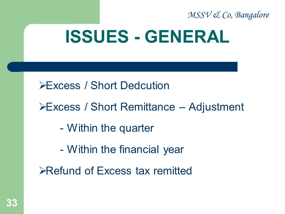 MSSV & Co, Bangalore 33 ISSUES - GENERAL Excess / Short Dedcution Excess / Short Remittance – Adjustment -Within the quarter -Within the financial yea