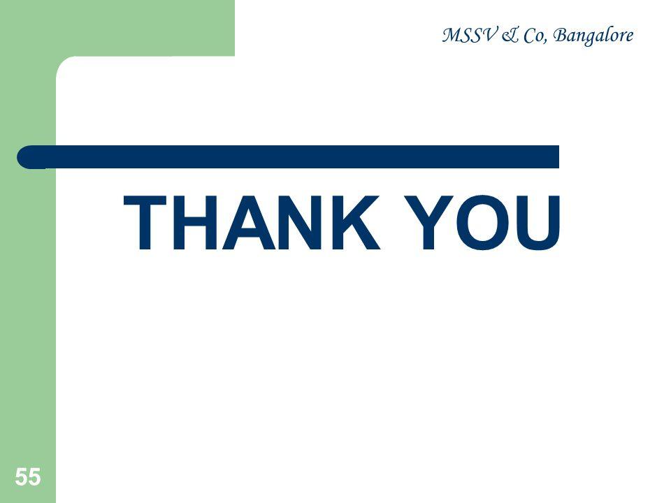 MSSV & Co, Bangalore 55 THANK YOU