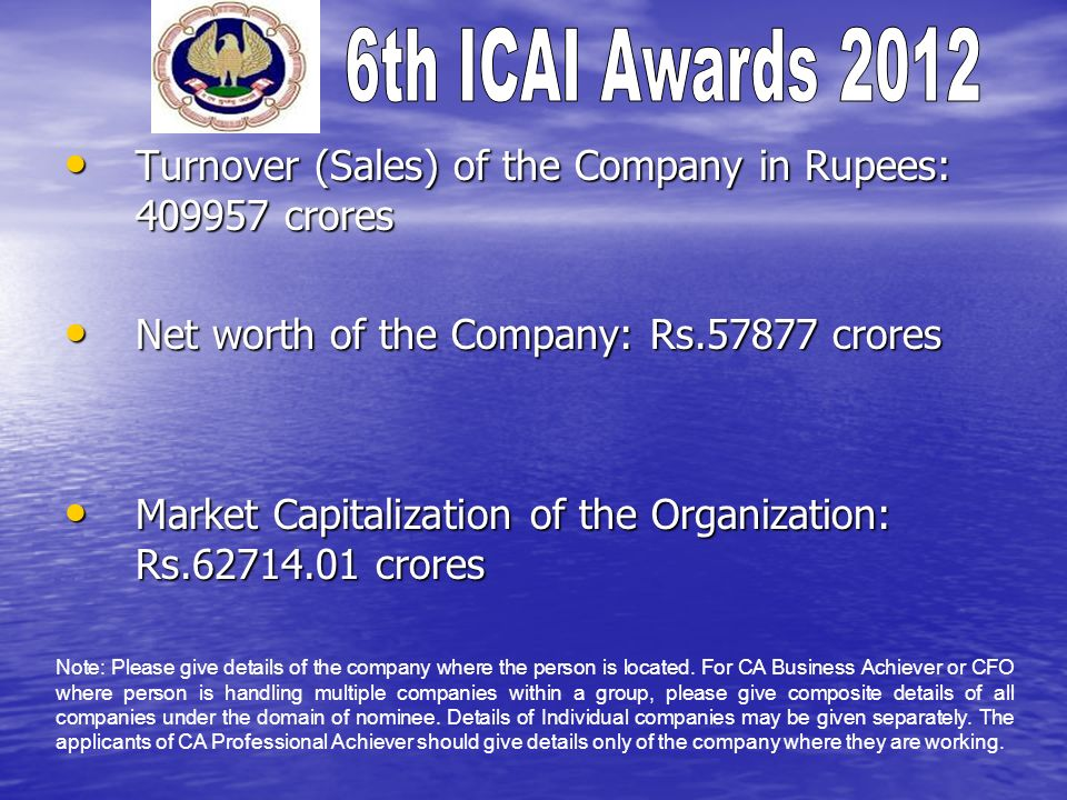 Turnover (Sales) of the Company in Rupees: 409957 crores Turnover (Sales) of the Company in Rupees: 409957 crores Net worth of the Company: Rs.57877 crores Net worth of the Company: Rs.57877 crores Market Capitalization of the Organization: Rs.62714.01 crores Market Capitalization of the Organization: Rs.62714.01 crores Note: Please give details of the company where the person is located.