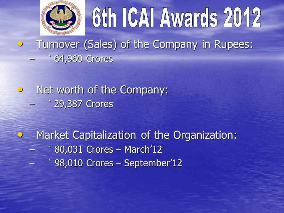 Turnover (Sales) of the Company in Rupees: Turnover (Sales) of the Company in Rupees: – ` 64,960 Crores Net worth of the Company: Net worth of the Company: – ` 29,387 Crores Market Capitalization of the Organization: Market Capitalization of the Organization: – ` 80,031 Crores – March12 – ` 98,010 Crores – September12