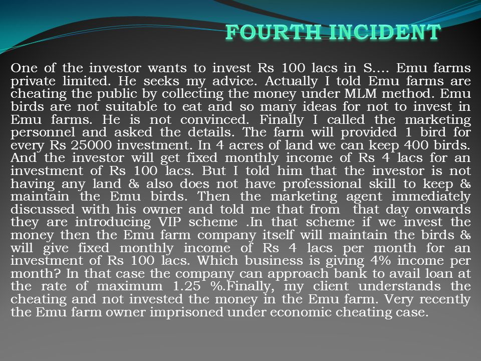 One of the investor wants to invest Rs 100 lacs in S….