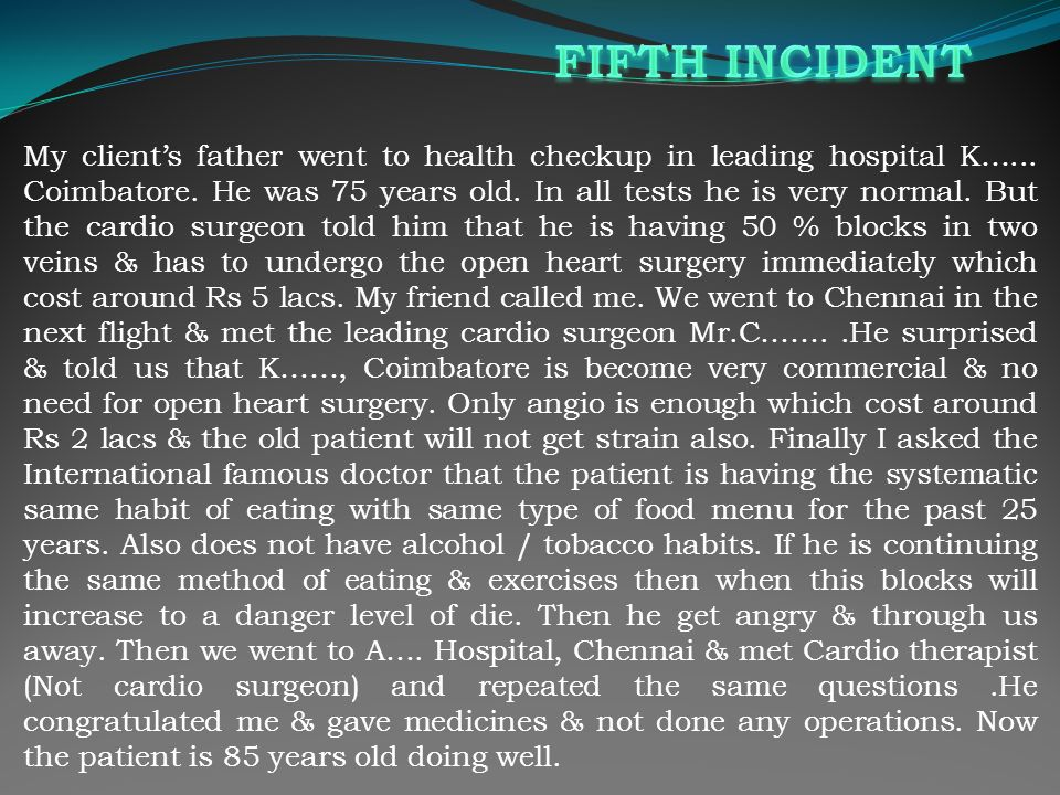My clients father went to health checkup in leading hospital K…...