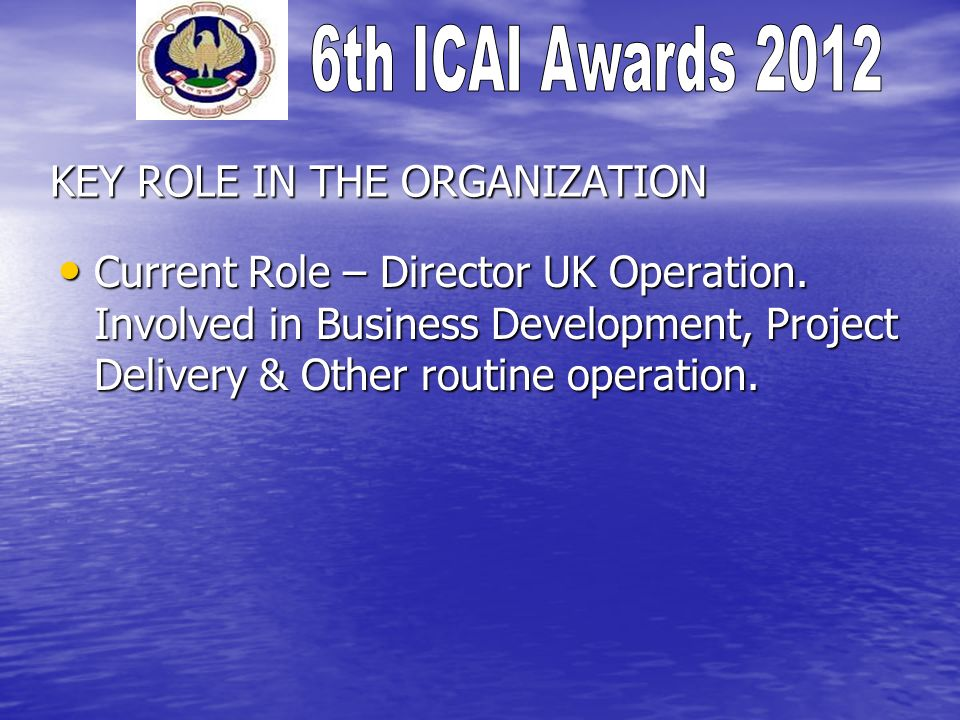 KEY ROLE IN THE ORGANIZATION Current Role – Director UK Operation.