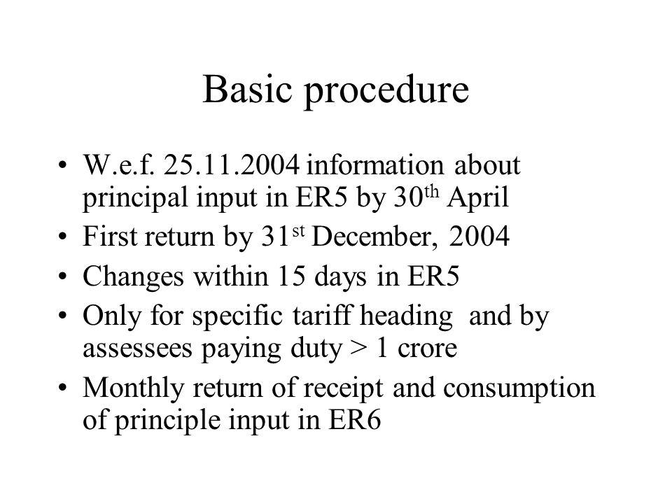 Basic procedure W.e.f.