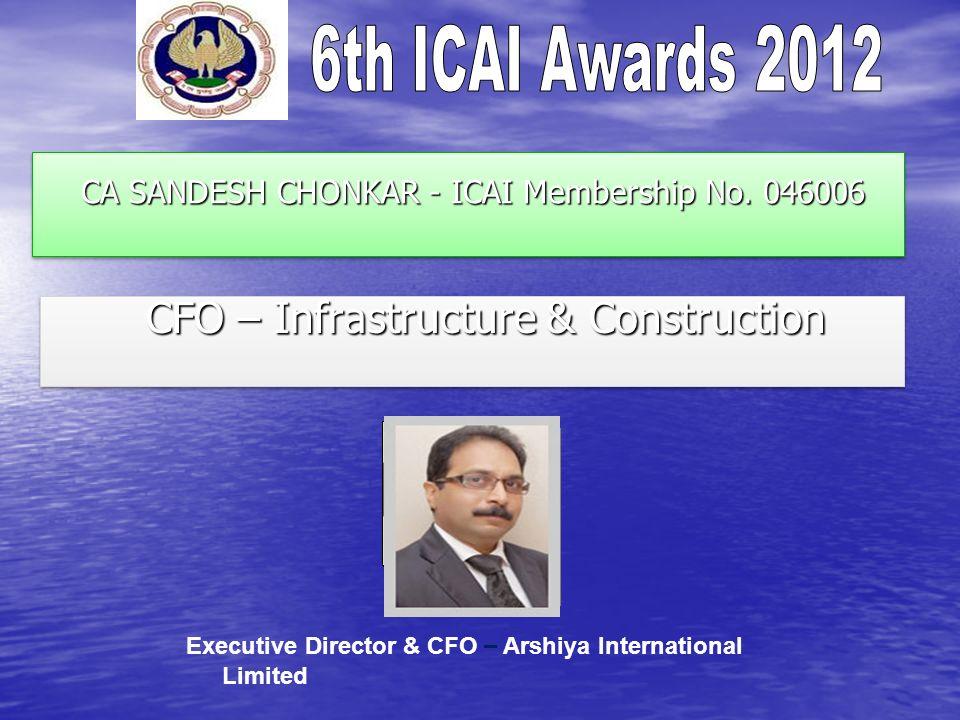 CA SANDESH CHONKAR - ICAI Membership No. 046006 CA SANDESH CHONKAR - ICAI Membership No. 046006 CFO – Infrastructure & Construction CFO – Infrastructu