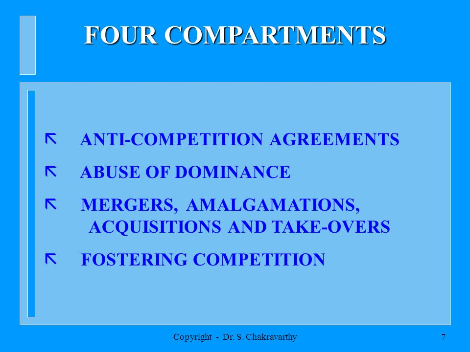 Copyright - Dr. S. Chakravarthy6 EXTANT COMPETITION LAW OF INDIA MONOPOLIES AND RESTRICTIVE TRADE PRACTICES ACT,1969 BROUGHT INTO FORCE IN 1970