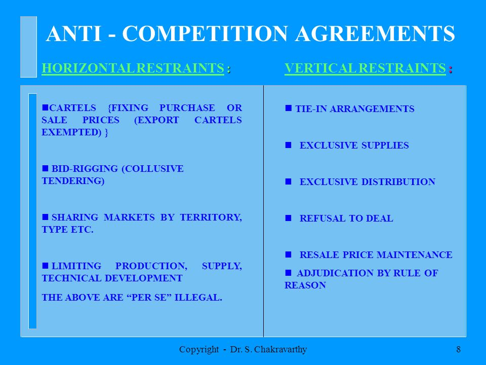 Copyright - Dr. S. Chakravarthy7 FOUR COMPARTMENTS ã ANTI-COMPETITION AGREEMENTS ã ABUSE OF DOMINANCE ã MERGERS, AMALGAMATIONS, ACQUISITIONS AND TAKE-