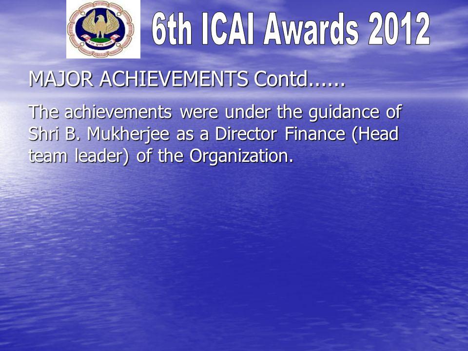 MAJOR ACHIEVEMENTS Contd...... The achievements were under the guidance of Shri B.