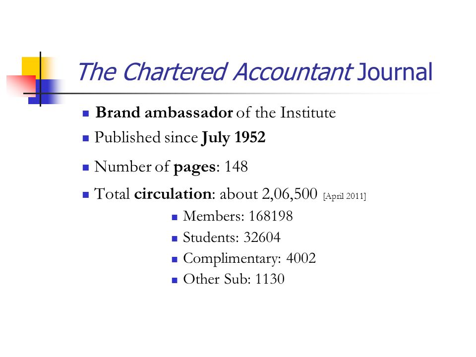 The Chartered Accountant Journal Brand ambassador of the Institute Published since July 1952 Number of pages: 148 Total circulation: about 2,06,500 [April 2011] Members: 168198 Students: 32604 Complimentary: 4002 Other Sub: 1130