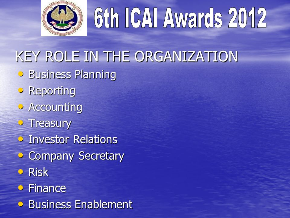KEY ROLE IN THE ORGANIZATION Business Planning Business Planning Reporting Reporting Accounting Accounting Treasury Treasury Investor Relations Invest