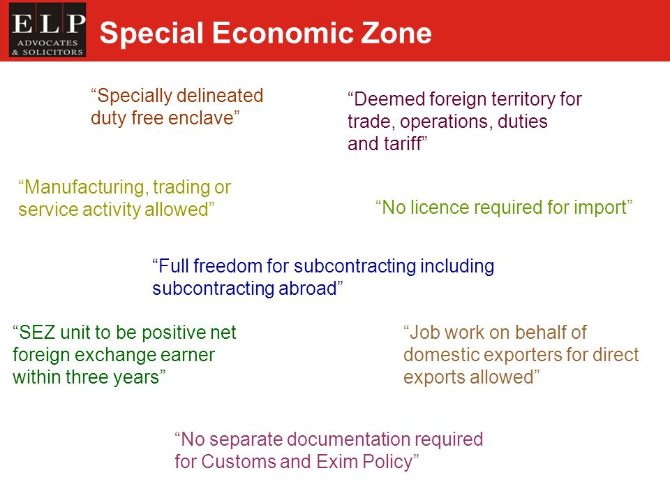 Special Economic Zone Specially delineated duty free enclave No licence required for import Deemed foreign territory for trade, operations, duties and