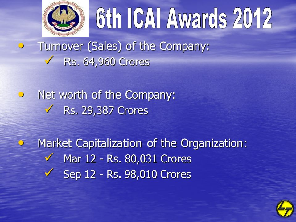Turnover (Sales) of the Company: Turnover (Sales) of the Company: Rs. 64,960 Crores Rs. 64,960 Crores Net worth of the Company: Net worth of the Compa