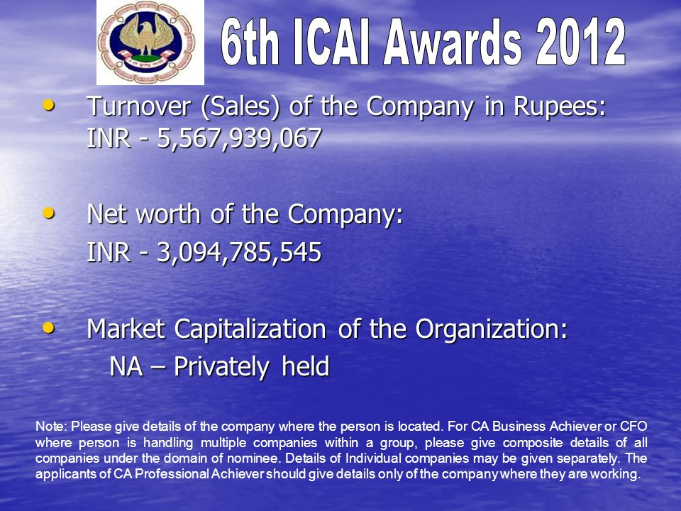 Turnover (Sales) of the Company in Rupees: INR - 5,567,939,067 Turnover (Sales) of the Company in Rupees: INR - 5,567,939,067 Net worth of the Company