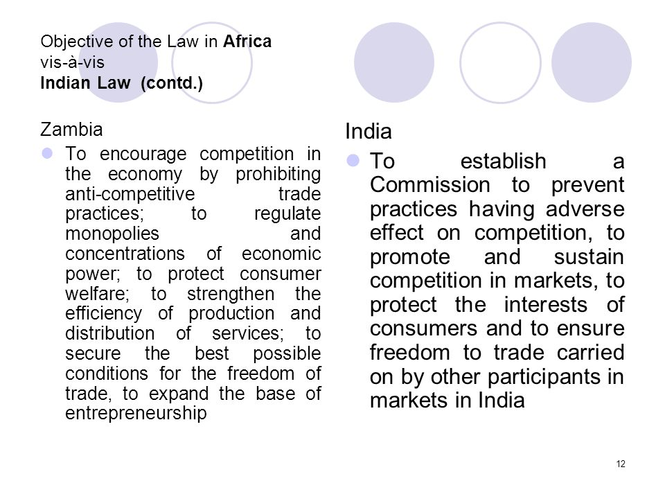 12 Objective of the Law in Africa vis-à-vis Indian Law (contd.) Zambia To encourage competition in the economy by prohibiting anti-competitive trade practices; to regulate monopolies and concentrations of economic power; to protect consumer welfare; to strengthen the efficiency of production and distribution of services; to secure the best possible conditions for the freedom of trade, to expand the base of entrepreneurship India To establish a Commission to prevent practices having adverse effect on competition, to promote and sustain competition in markets, to protect the interests of consumers and to ensure freedom to trade carried on by other participants in markets in India