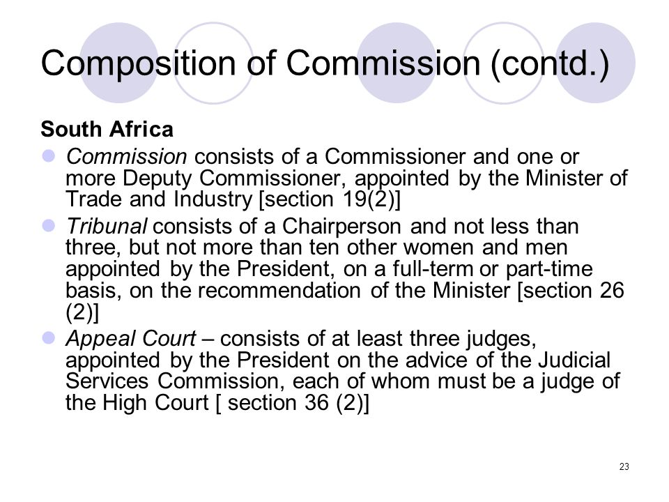 23 Composition of Commission (contd.) South Africa Commission consists of a Commissioner and one or more Deputy Commissioner, appointed by the Minister of Trade and Industry [section 19(2)] Tribunal consists of a Chairperson and not less than three, but not more than ten other women and men appointed by the President, on a full-term or part-time basis, on the recommendation of the Minister [section 26 (2)] Appeal Court – consists of at least three judges, appointed by the President on the advice of the Judicial Services Commission, each of whom must be a judge of the High Court [ section 36 (2)]