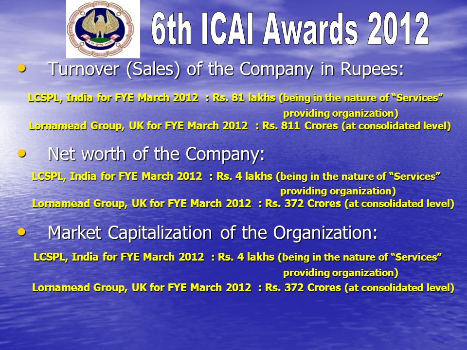 Turnover (Sales) of the Company in Rupees: Turnover (Sales) of the Company in Rupees: LCSPL, India for FYE March 2012 : Rs.