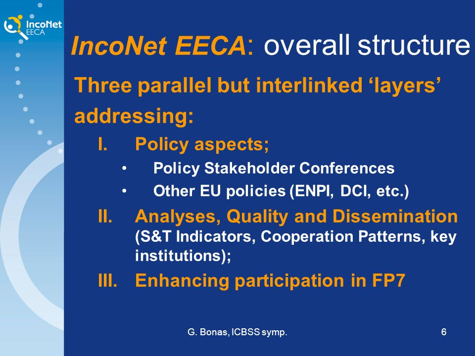 G. Bonas, ICBSS symp.6 IncoNet EECA : overall structure Three parallel but interlinked layers addressing: I.Policy aspects; Policy Stakeholder Confere