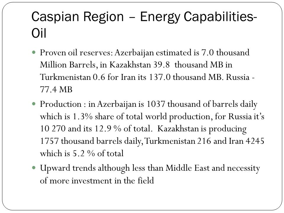 Proven oil reserves: Azerbaijan estimated is 7.0 thousand Million Barrels, in Kazakhstan 39.8 thousand MB in Turkmenistan 0.6 for Iran its thousand MB.