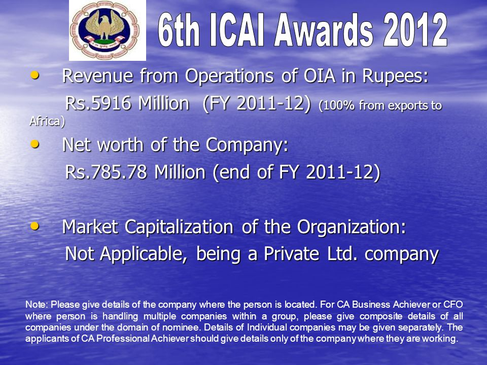 Revenue from Operations of OIA in Rupees: Revenue from Operations of OIA in Rupees: Rs.5916 Million (FY 2011-12) (100% from exports to Africa) Rs.5916