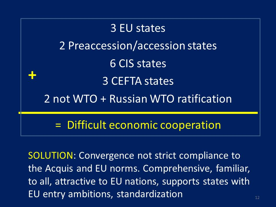 3 EU states 2 Preaccession/accession states 6 CIS states 3 CEFTA states 2 not WTO + Russian WTO ratification = Difficult economic cooperation + SOLUTION: Convergence not strict compliance to the Acquis and EU norms.