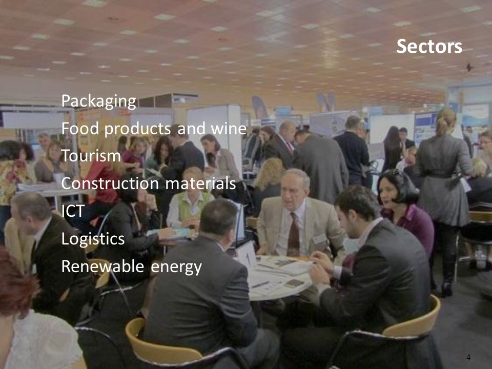 Sectors Packaging Food products and wine Tourism Construction materials ICT Logistics Renewable energy 4