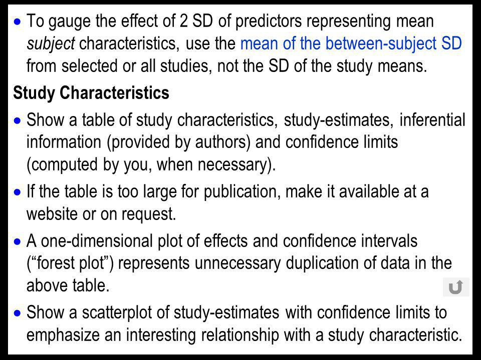 To gauge the effect of 2 SD of predictors representing mean subject characteristics, use the mean of the between-subject SD from selected or all studies, not the SD of the study means.