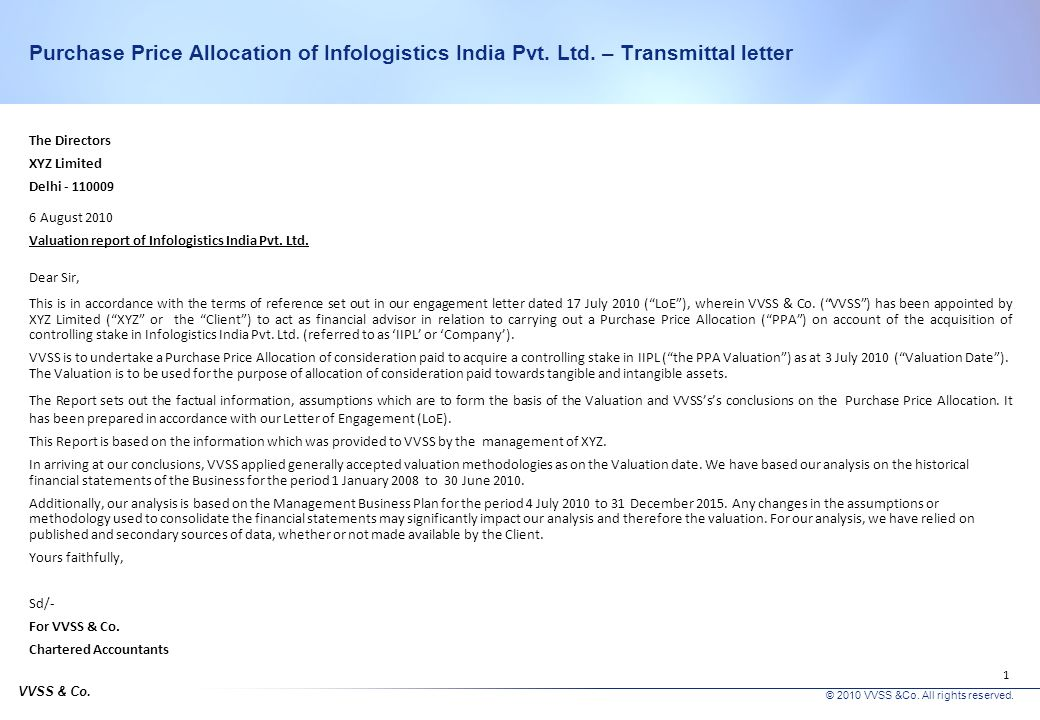 Assisting XYZ Ltd. for valuation of intangible assets relating to its acquisition of Infologistics India Pvt. Ltd. Purchase Price Allocation Report Au