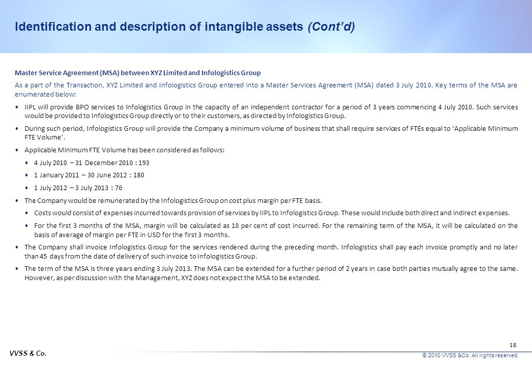 VVSS & Co. © 2010 VVSS &Co. All rights reserved. 17 Identification and description of intangible assets (Contd) Identification and description of inta