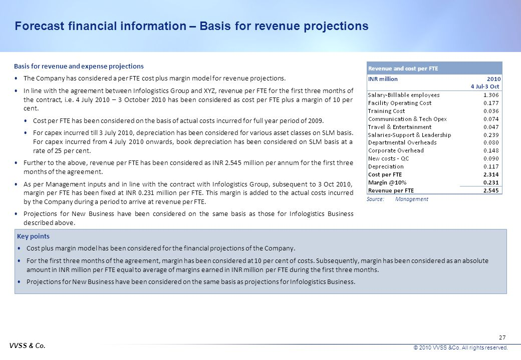 VVSS & Co. © 2010 VVSS &Co. All rights reserved. 26 Forecast financial information – Basis for considerations Management Business Plan The Management