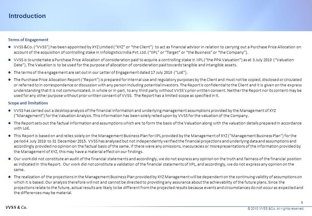 VVSS & Co.© 2010 VVSS &Co. All rights reserved. 3 Introduction Terms of Engagement VVSS &Co.