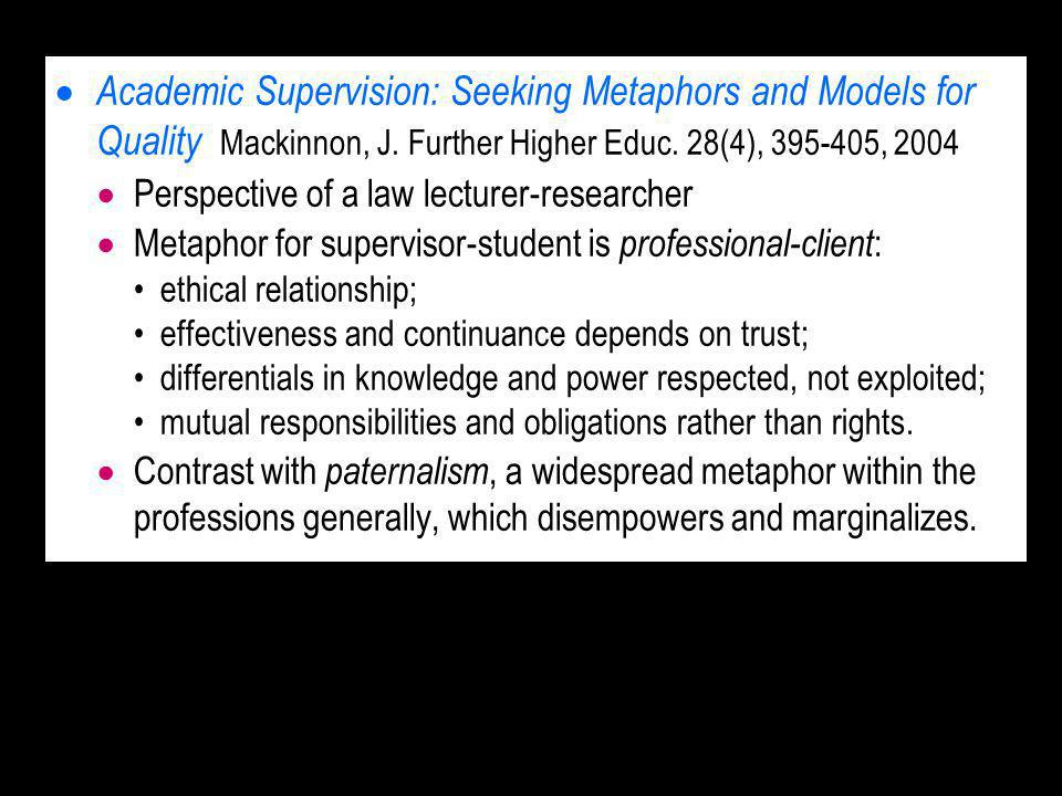 Academic Supervision: Seeking Metaphors and Models for Quality Mackinnon, J.
