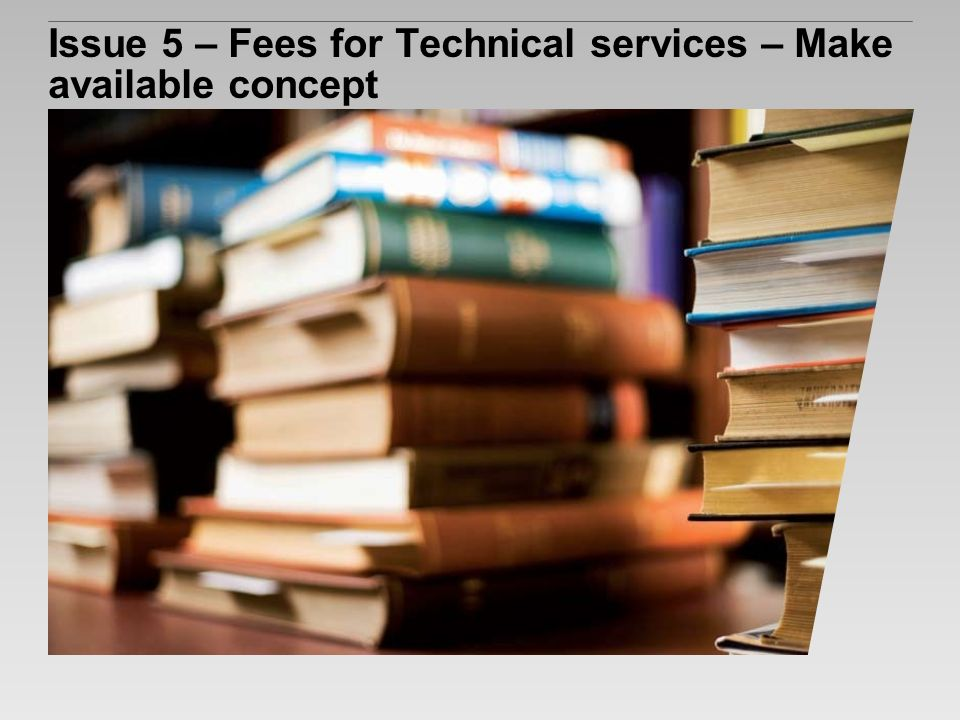 Issue 5 – Fees for Technical services – Make available concept