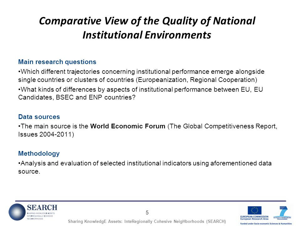 5 Sharing KnowledgE Assets: InteRegionally Cohesive NeigHborhoods (SEARCH) Comparative View of the Quality of National Institutional Environments Main research questions Which different trajectories concerning institutional performance emerge alongside single countries or clusters of countries (Europeanization, Regional Cooperation) What kinds of differences by aspects of institutional performance between EU, EU Candidates, BSEC and ENP countries.