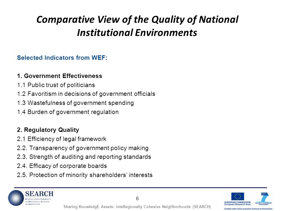 6 Sharing KnowledgE Assets: InteRegionally Cohesive NeigHborhoods (SEARCH) Comparative View of the Quality of National Institutional Environments Sele