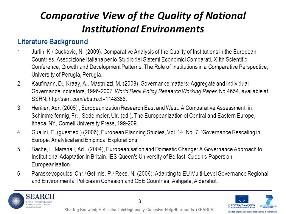 8 Sharing KnowledgE Assets: InteRegionally Cohesive NeigHborhoods (SEARCH) Comparative View of the Quality of National Institutional Environments Literature Background 1.Jurlin, K./ Cuckovic, N.