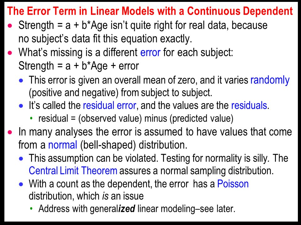 The Error Term in Linear Models with a Continuous Dependent Strength = a + b*Age isnt quite right for real data, because no subjects data fit this equation exactly.