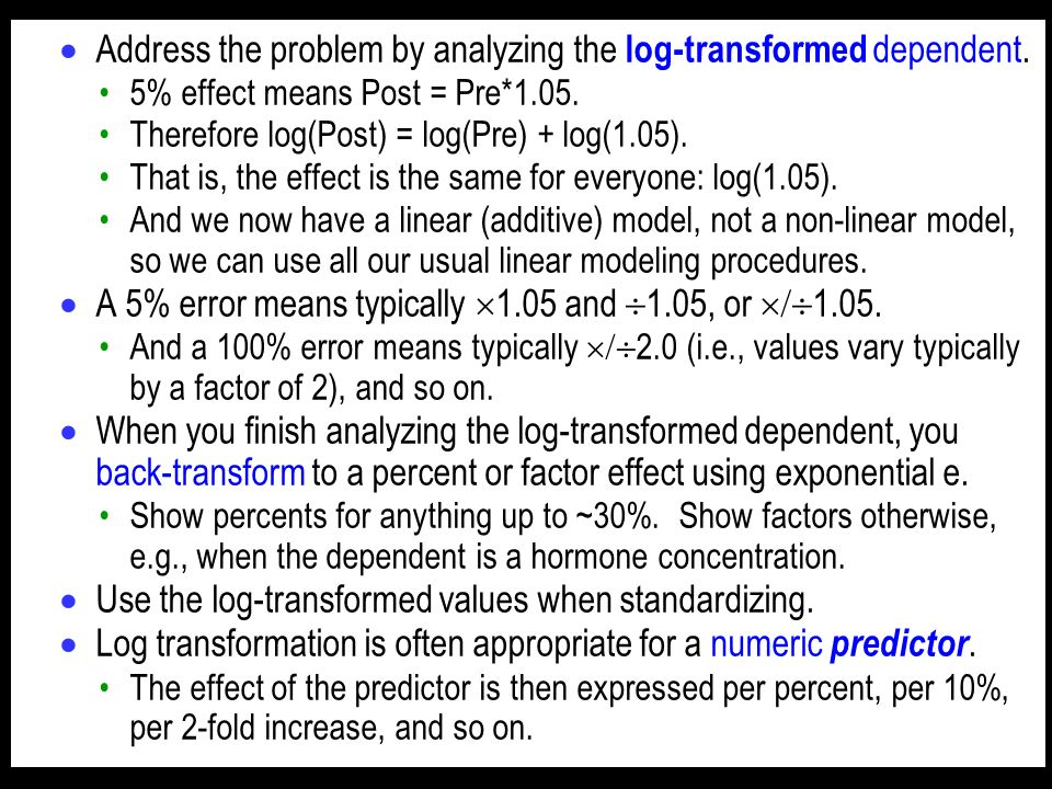 Address the problem by analyzing the log-transformed dependent.