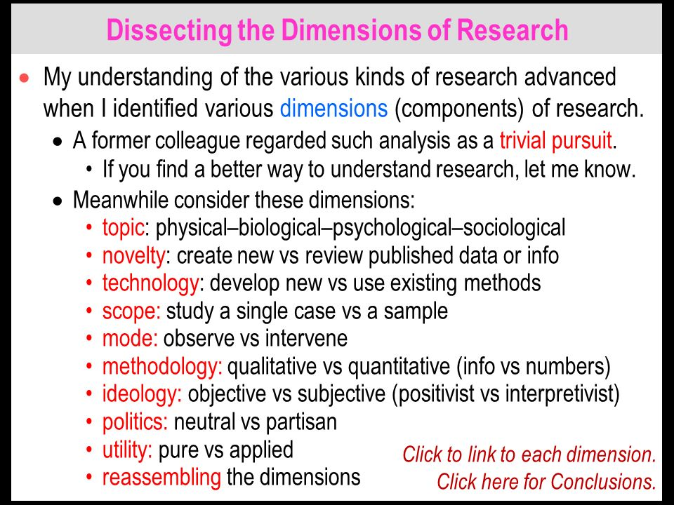 Dissecting the Dimensions of Research My understanding of the various kinds of research advanced when I identified various dimensions (components) of research.