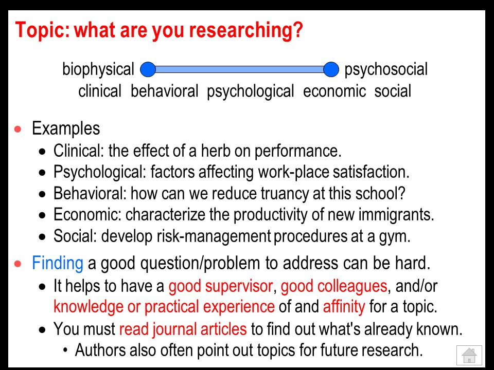 Topic: what are you researching. Examples Clinical: the effect of a herb on performance.