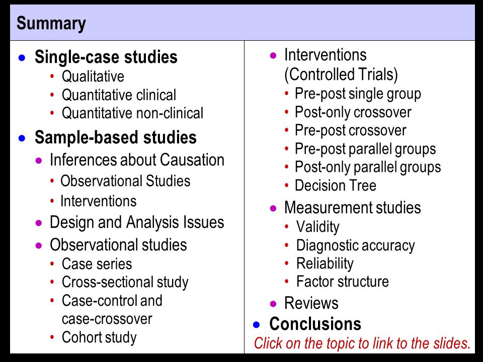 Summary Single-case studies Qualitative Quantitative clinical Quantitative non-clinical Sample-based studies Inferences about Causation Observational