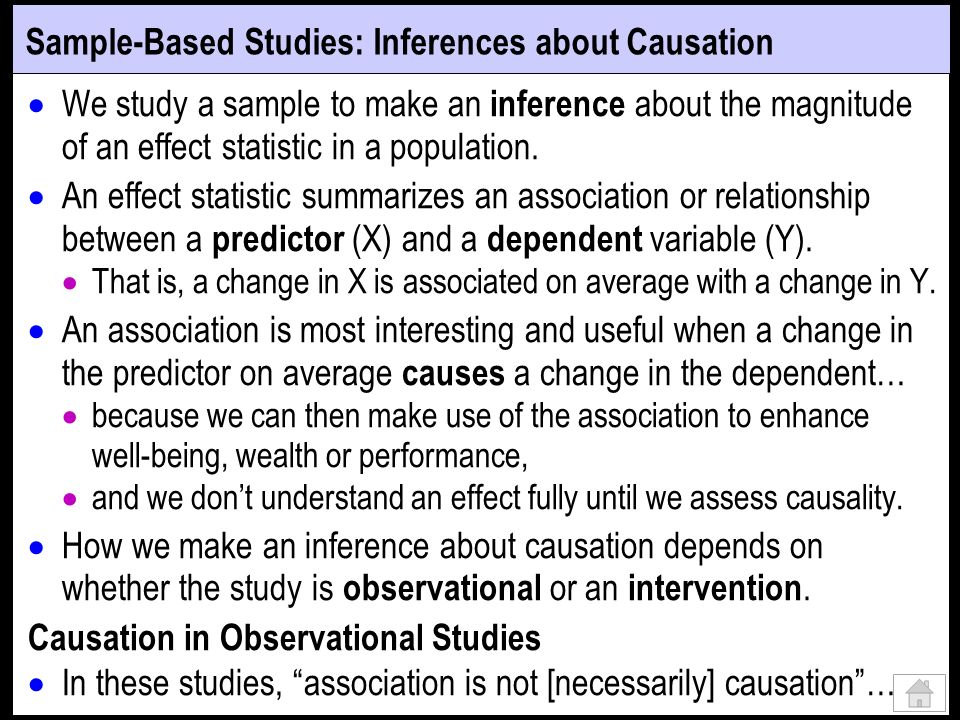 Sample-Based Studies: Inferences about Causation We study a sample to make an inference about the magnitude of an effect statistic in a population.