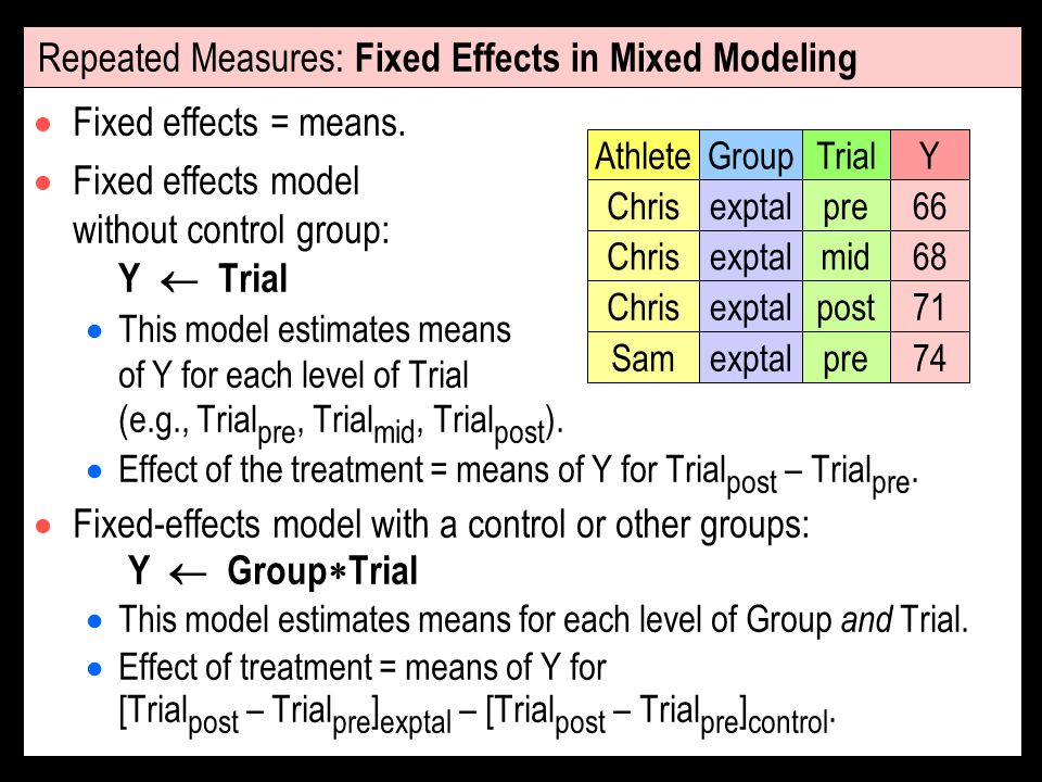 Repeated Measures: Fixed Effects in Mixed Modeling Fixed effects = means. Fixed effects model without control group: Y Trial This model estimates mean