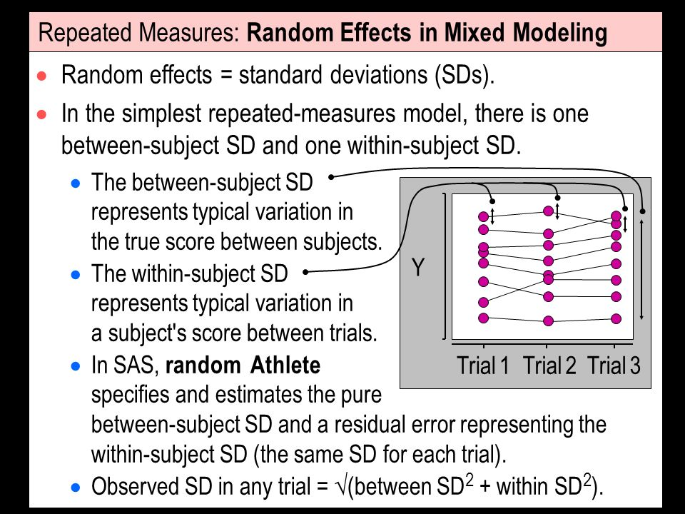 Repeated Measures: Random Effects in Mixed Modeling Random effects = standard deviations (SDs). In the simplest repeated-measures model, there is one
