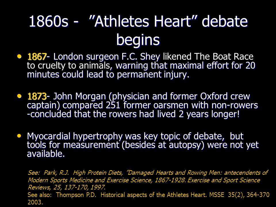 1860s - Athletes Heart debate begins 1867- London surgeon F.C.