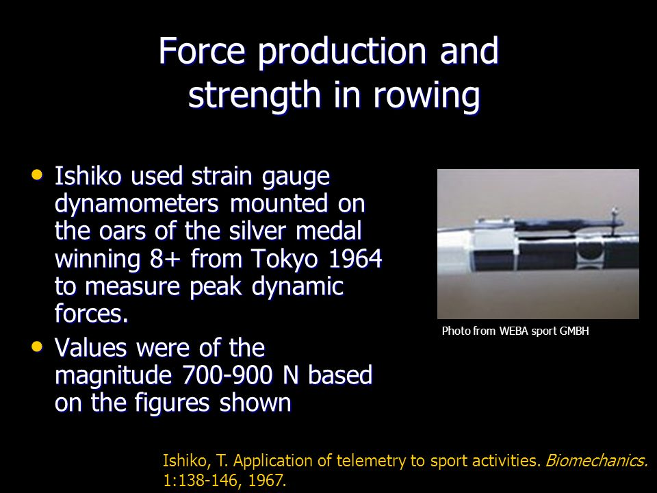 Force production and strength in rowing Ishiko used strain gauge dynamometers mounted on the oars of the silver medal winning 8+ from Tokyo 1964 to measure peak dynamic forces.