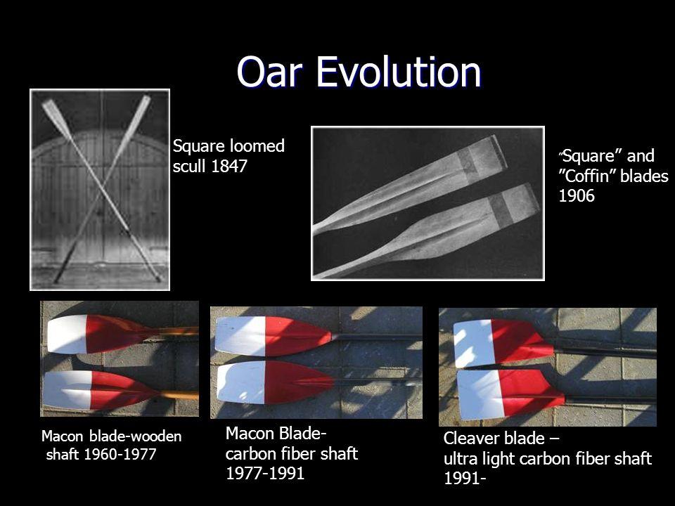 Oar Evolution Macon blade-wooden shaft 1960-1977 Macon Blade- carbon fiber shaft 1977-1991 Cleaver blade – ultra light carbon fiber shaft 1991- Square and Coffin blades 1906 Square loomed scull 1847
